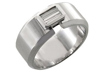 MENS 1/3 CARAT BAGUETTE CUT DIAMOND RING WEDDING BAND 14KT WHITE GOLD