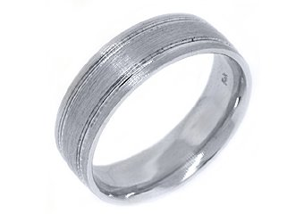 MENS WEDDING BAND ENGAGEMENT RING 14KT WHITE GOLD BRUSHED SAND FINISH 7mm
