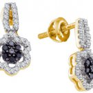 WOMENS .35 CARAT BLACK DIAMOND DANGLE EARRINGS ROUND CUT PAVE YELLOW GOLD