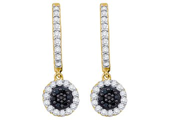 WOMENS .49 CARAT BLACK DIAMOND DANGLE EARRINGS ROUND CUT PAVE YELLOW GOLD