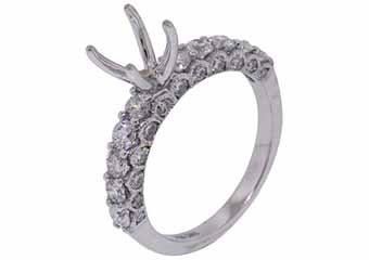 1.39 CARAT WOMENS DIAMOND ENGAGEMENT RING SEMI-MOUNT ROUND CUT WHITE GOLD