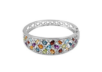 WOMENS MULTI GEMSTONE BANGLE BRACELET OVAL SHAPE CITRINE AMETHYST GARNET TOPAZ