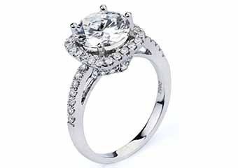 WOMENS DIAMOND ENGAGEMENT HALO RING ROUND CUT 1.52 CARAT 18KT WHITE GOLD
