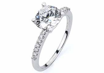 WOMENS DIAMOND ENGAGEMENT RING BRILLIANT ROUND CUT 1.14 CARAT 14KT WHITE GOLD