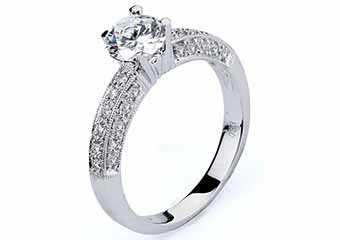 WOMENS DIAMOND ENGAGEMENT RING BRILLIANT ROUND CUT 1.33 CARAT 14K WHITE GOLD