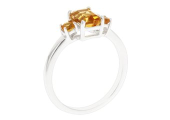 WOMENS 1.20 CARAT CITRINE EMERALD CUT ROUND 3-STONE RING 925 STERLING SILVER