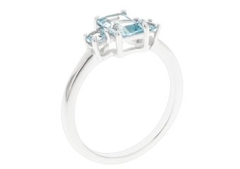 WOMENS 1.55 CARAT BLUE TOPAZ EMERALD CUT ROUND 3-STONE RING 925 STERLING SILVER