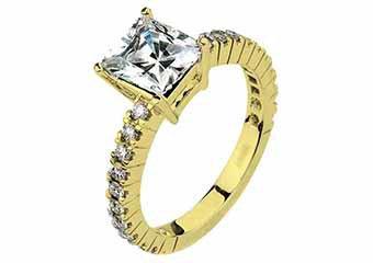 WOMENS DIAMOND ENGAGEMENT RING PRINCESS SQUARE CUT 1.49 CARAT 18K YELLOW GOLD