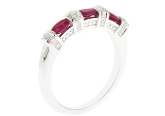 WOMENS 1.02 CARAT RED RUBY DIAMOND RING WEDDING BAND 925 STERLING SILVER