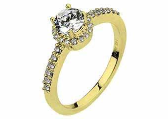 WOMENS DIAMOND ENGAGEMENT HALO RING ROUND CUT 1.29 CARAT 14KT YELLOW GOLD