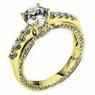 WOMENS DIAMOND ENGAGEMENT RING ROUND CUT 1.95 CARAT 18K YELLOW GOLD