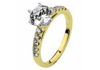 WOMENS DIAMOND ENGAGEMENT RING ROUND CUT 1.29 CARAT 18K YELLOW GOLD