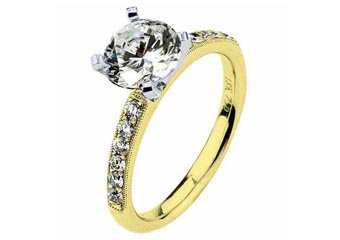 WOMENS DIAMOND ENGAGEMENT RING ROUND CUT 1.23 CARAT 18K YELLOW GOLD