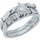 1.25CT WOMENS DIAMOND ENGAGEMENT RING WEDDING BAND BRIDAL SET ROUND WHITE GOLD