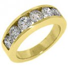 MENS 2 CARAT BRILLIANT ROUND CUT DIAMOND RING WEDDING BAND 14KT YELLOW GOLD