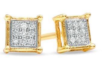 .05 CARAT PRINCESS SQUARE CUT MICRO-PAVE DIAMOND STUD EARRINGS YELLOW GOLD 50432