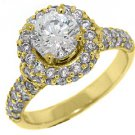 2 CARAT WOMENS DIAMOND ENGAGEMENT HALO RING BRILLIANT ROUND CUT YELLOW GOLD