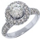 2 CARAT WOMENS DIAMOND ENGAGEMENT HALO RING BRILLIANT ROUND CUT WHITE GOLD