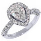 2 CARAT WOMENS DIAMOND ENGAGEMENT HALO RING PEAR SHAPE ROUND CUT WHITE GOLD