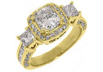 2.5 CARAT WOMENS 3-STONE DIAMOND HALO RING CUSHION CUT YELLOW GOLD