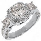 2.5 CARAT WOMENS 3-STONE DIAMOND HALO RING CUSHION CUT WHITE GOLD