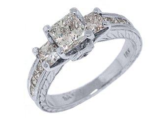 2.2 CARAT WOMENS 3-STONE PAST PRESENT FUTURE DIAMOND RING SQUARE CUT WHITE GOLD