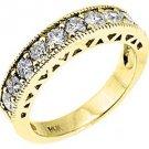 1 CARAT WOMENS ANTIQUE ROUND CUT DIAMOND RING WEDDING BAND 14K YELLOW GOLD