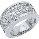 MENS 3.17 CARAT PRINCESS BAGUETTE CUT DIAMOND RING WEDDING BAND 18KT WHITE GOLD