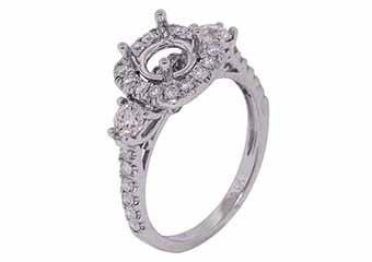 1.09 CARAT WOMENS DIAMOND HALO ENGAGEMENT RING SEMI-MOUNT ROUND CUT WHITE GOLD