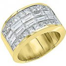 MENS 4 CARAT PRINCESS SQUARE CUT DIAMOND RING WEDDING BAND 18KT YELLOW GOLD