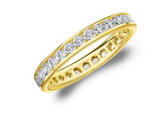 DIAMOND ETERNITY BAND WEDDING RING ROUND CHANNEL SET 14KT YELLOW GOLD 1.00 CARAT
