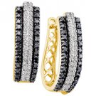 WOMENS 1.03 CARAT BLACK DIAMOND HOOP EARRINGS ROUND CUT PAVE 14KT YELLOW GOLD