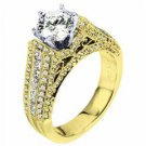 WOMENS DIAMOND ENGAGEMENT RING BRILLIANT ROUND 2.17 CARATS 18KT YELLOW GOLD