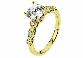 WOMENS DIAMOND ENGAGEMENT RING BRILLIANT ROUND 1.31 CARATS 18KT YELLOW GOLD