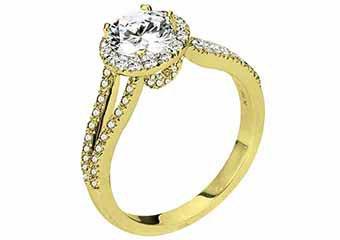 WOMENS DIAMOND ENGAGEMENT HALO RING ROUND CUT 1.48 CARATS 18KT YELLOW GOLD