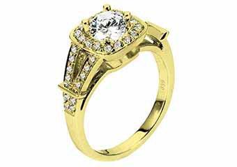 WOMENS DIAMOND ENGAGEMENT HALO RING ROUND CUT 1.37 CARATS 14KT YELLOW GOLD