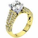 WOMENS DIAMOND ENGAGEMENT RING ROUND CUT 1.73 CARAT 18K YELLOW GOLD