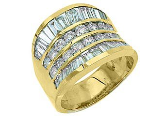 4.38CT WOMENS BRILLIANT ROUND BAGUETTE CUT DIAMOND RING WEDDING BAND YELLOW GOLD