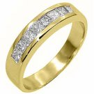 1 CARAT WOMENS PRINCESS SQUARE CUT DIAMOND RING WEDDING BAND YELLOW GOLD
