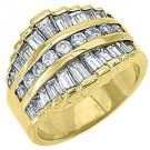 2CT WOMENS BRILLIANT ROUND BAGUETTE CUT DIAMOND RING WEDDING BAND YELLOW GOLD