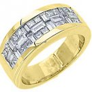 1.5CT WOMENS PRINCESS BAGUETTE INVISIBLE DIAMOND RING WEDDING BAND YELLOW GOLD