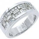 1.59CT WOMENS PRINCESS SQUARE BAGUETTE CUT DIAMOND RING WEDDING BAND WHITE GOLD
