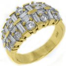 2.65CT WOMENS BRILLIANT ROUND BAGUETTE CUT DIAMOND RING WEDDING BAND YELLOW GOLD