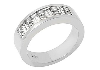 1.4CT WOMENS PRINCESS BAGUETTE INVISIBLE DIAMOND RING WEDDING BAND WHITE GOLD