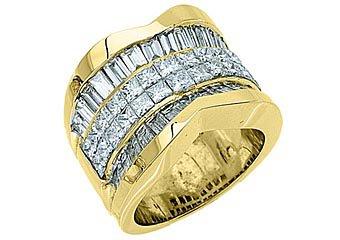 5 CARAT WOMENS PRINCESS BAGUETTE INVISIBLE DIAMOND RING WEDDING BAND YELLOW GOLD
