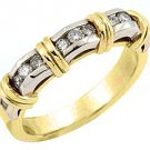 WOMENS .55CT BRILLIANT ROUND DIAMOND RING WEDDING BAND TWO TONE YELLOW GOLD