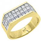2 CARAT WOMENS PRINCESS CUT INVISIBLE DIAMOND RING WEDDING BAND YELLOW GOLD