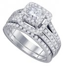 WOMENS DIAMOND ENGAGEMENT HALO RING WEDDING BAND BRIDAL SET 1.5 CARAT PRINCESS