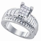 WOMENS DIAMOND ENGAGEMENT RING INVISIBLE PRINCESS CUT .90 CARAT 14K WHITE GOLD