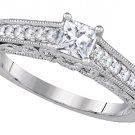 WOMENS DIAMOND ENGAGEMENT RING PRINCESS SHAPE CUT .68 CARAT 14K WHITE GOLD